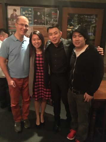 A picture with Rohnie Tan (on my left), with friend Mindaugas and my boyfriend, David (far left)